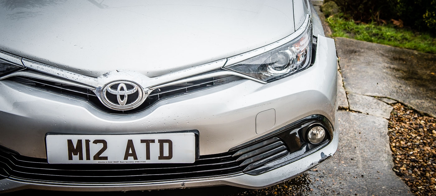 Toyota Auris front bumper - Before, front view Attention to Detail mobile smart bumper repairs image by Ian Skelton Photography